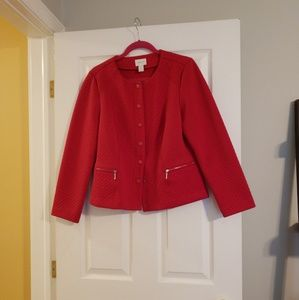 Red knit jacket